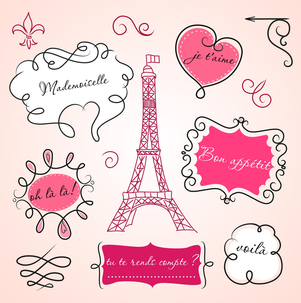 Doodle Frames In French Style-