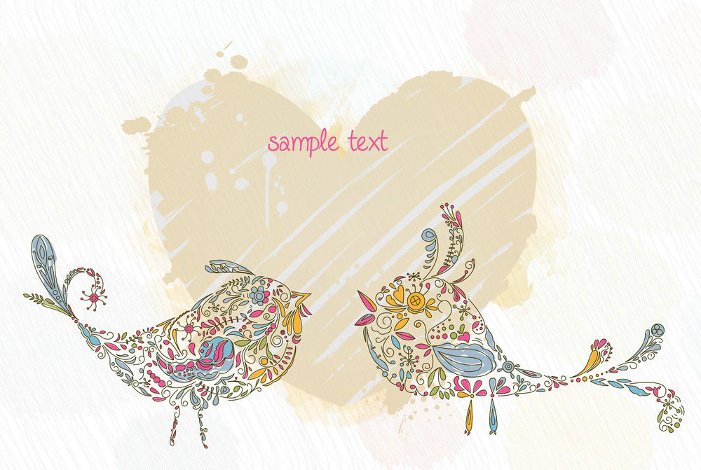 Doodles Background With Colorful Birds Vector Illustration