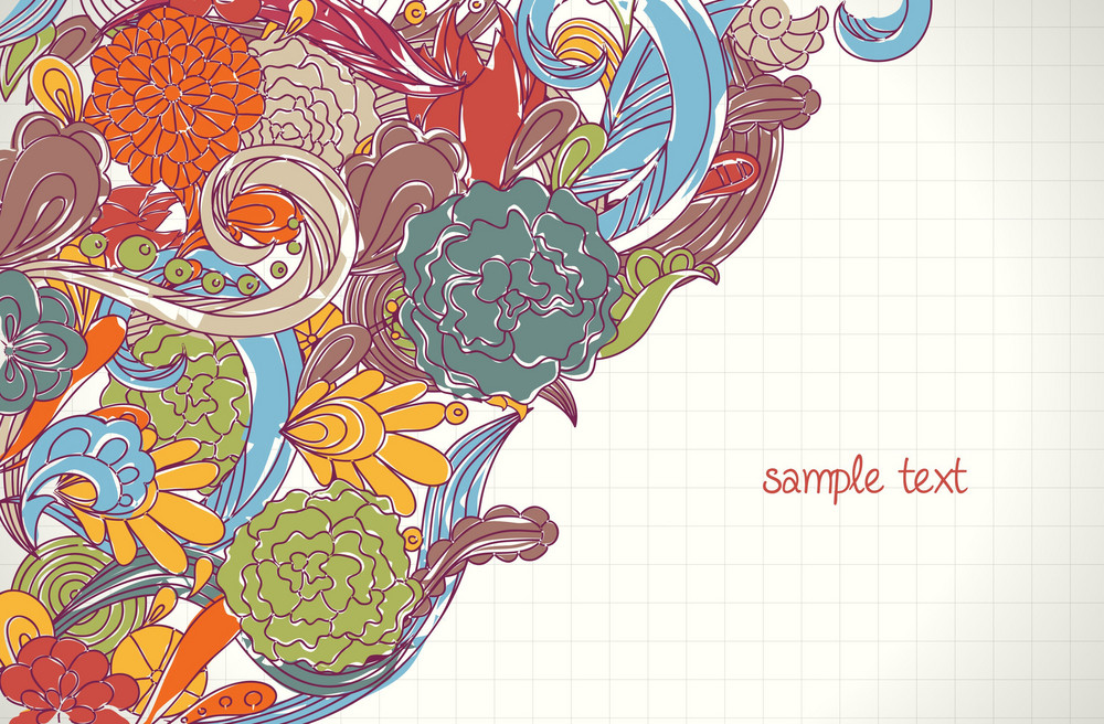 Doodles Background With Floral Vector Illustration