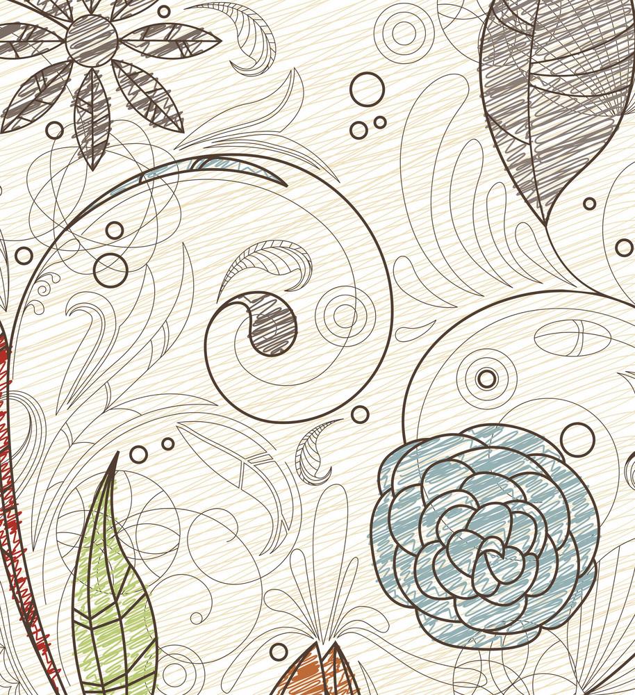 Doodles Floral Background Vector Illustration
