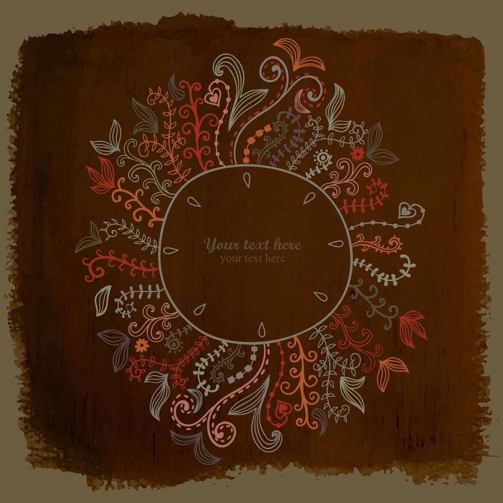 Doodles Floral Frame On Grunge Paper