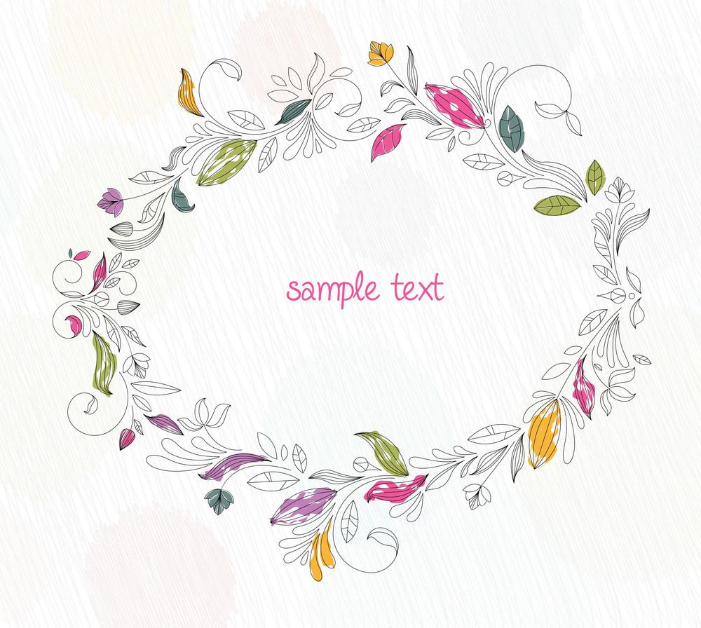 Doodles Floral Frame Vector Illustration