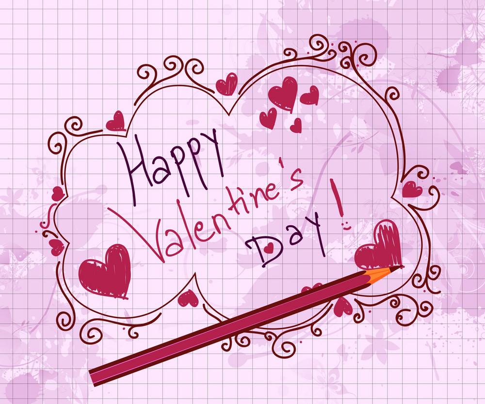 Doodles Valentine Background Vector Illustration