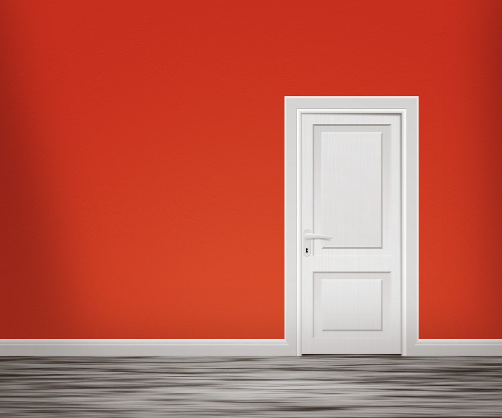Door In The Red Wall Background