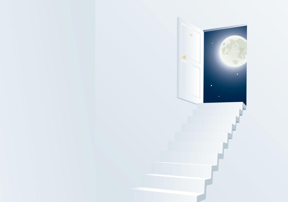 Door To Th Night. Vector Background