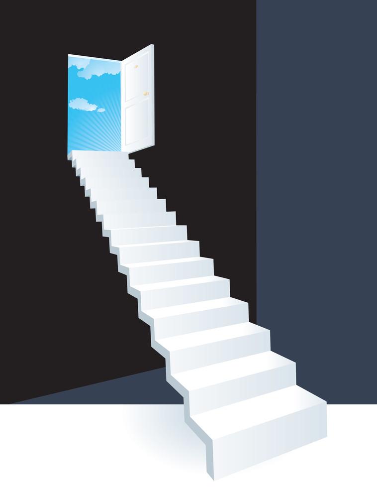 Door To The Sky. Vector.