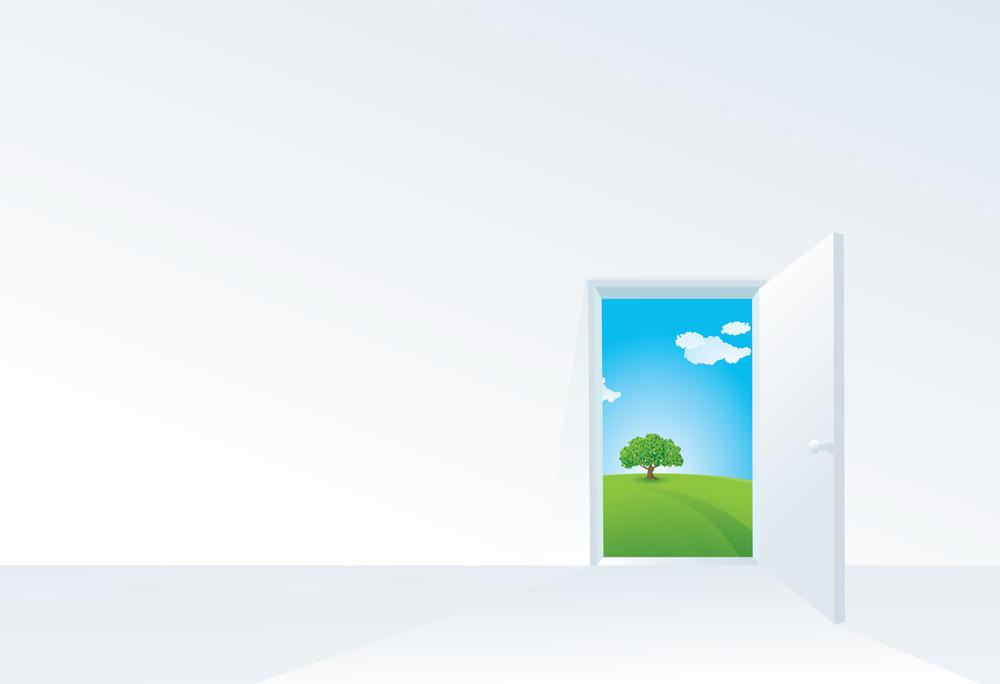 Door To The Summer. Vector Template.