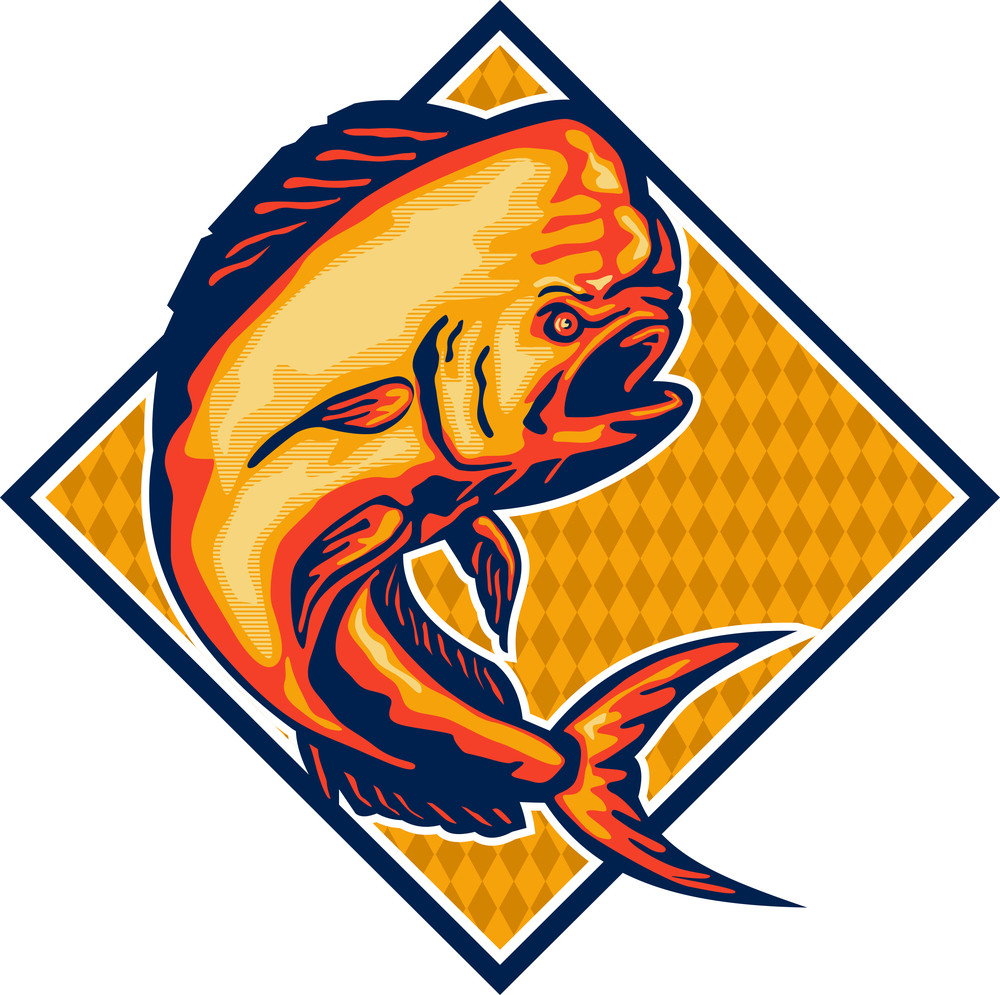 Dorado Dolphin Fish Mahi-mahi Retro