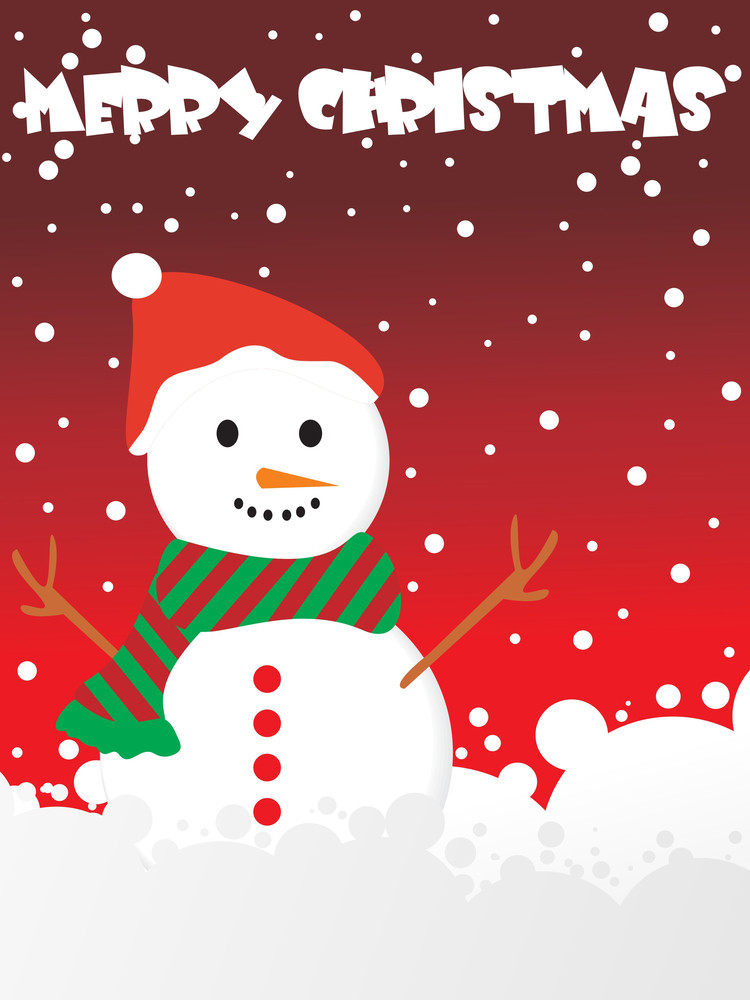 Dots Background With Snowman