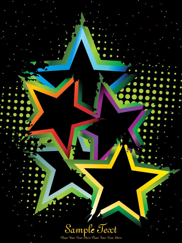 Dotted Background With Colorful Star