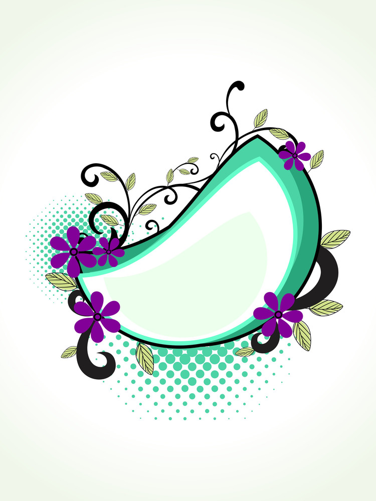 Dotted Background With Floral Decorated Frame