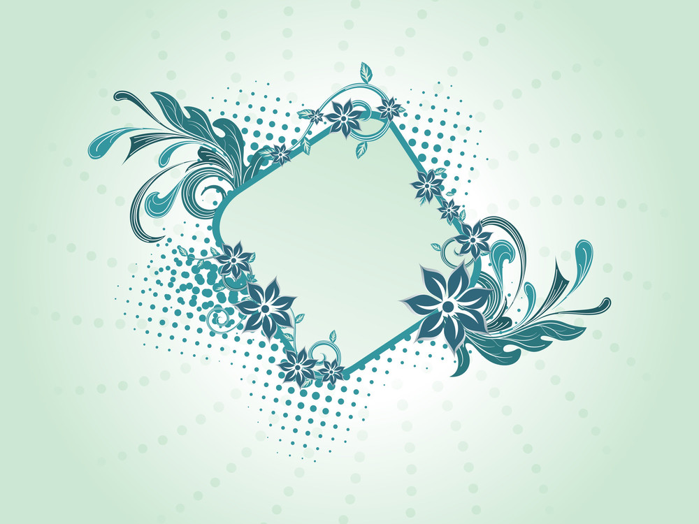 Dotted Background With Floral Frame