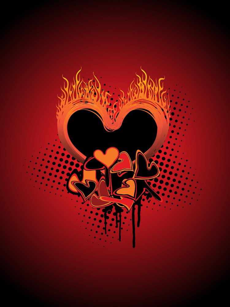 Dotted Background With Grungy Burnt Heart