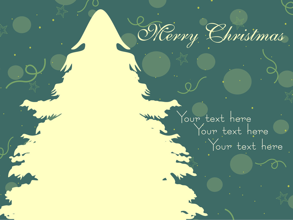 Dotted Background With Xmas Tree