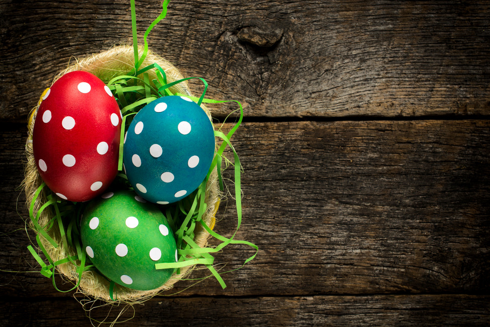 Dotted Easter Egg In Basket