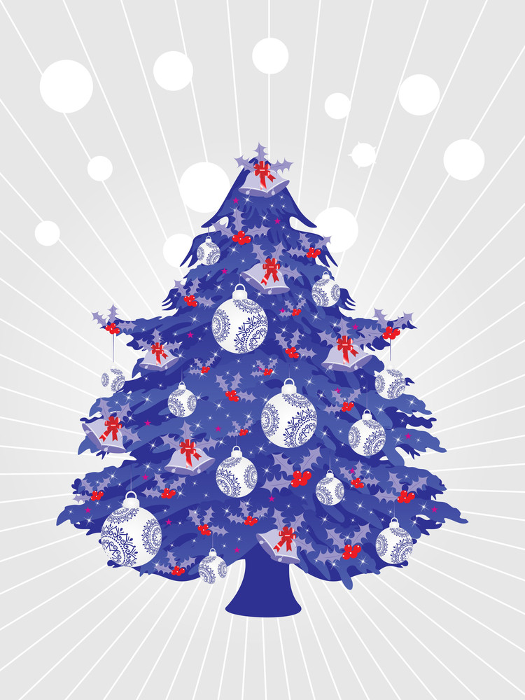 Dotted Rays Background With Decorated Xmas Tree