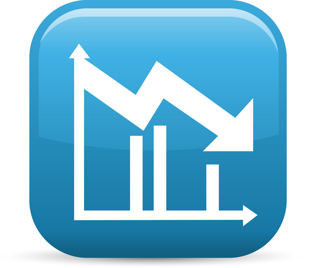 Downward Line Graph Elements Glossy Icon