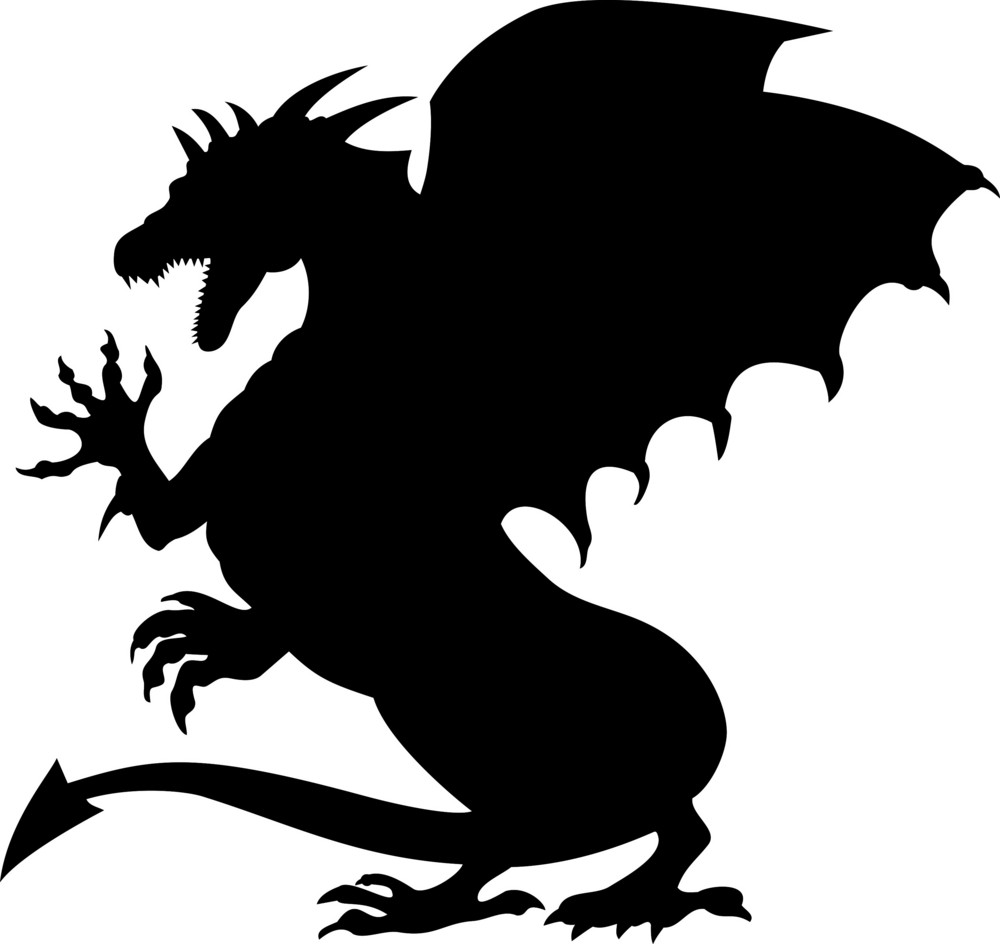 Dragon Fighting Silhouette