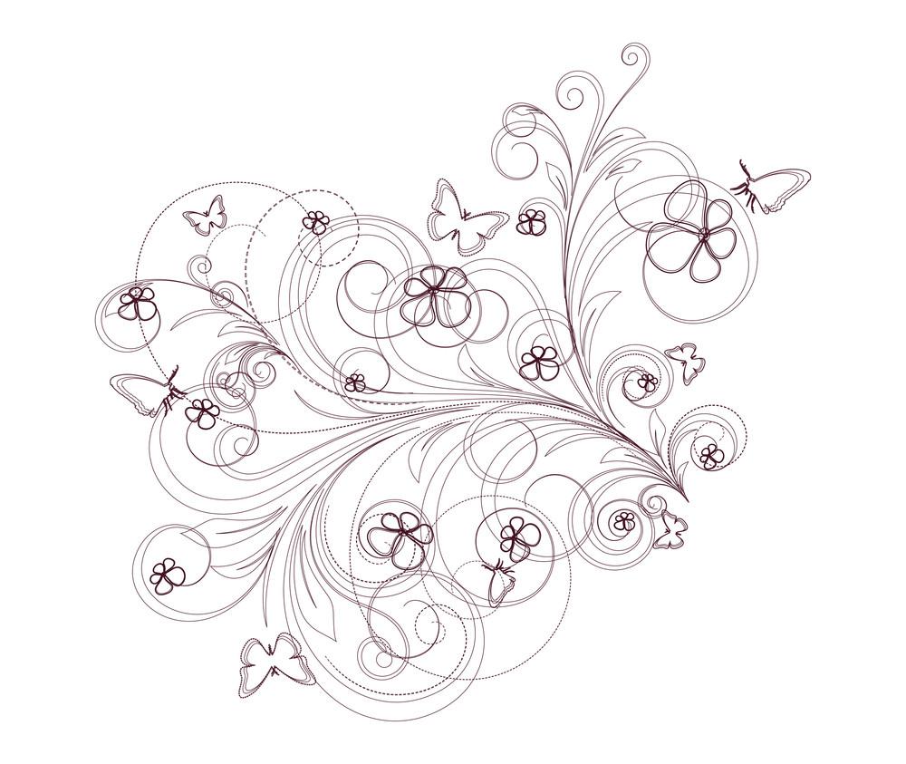 Drawing Art Of Decorative Flourish Elements