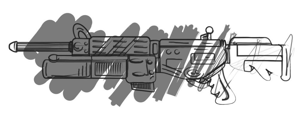 Drawing Art Of Shooting Gun