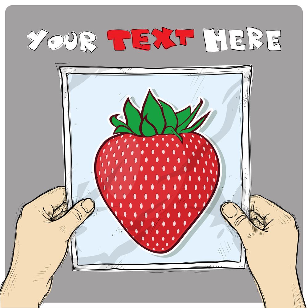 Drawing Of A Sheet Of Paper With Cartoon Berry Illustration In Hands. Vector.
