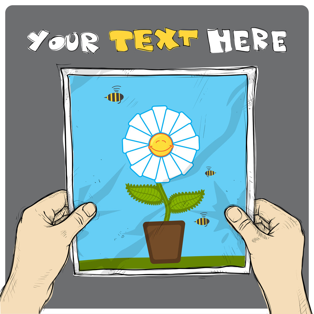 Drawing Of A Sheet Of Paper With Cartoon Flower Illustration In Hands. Vector.