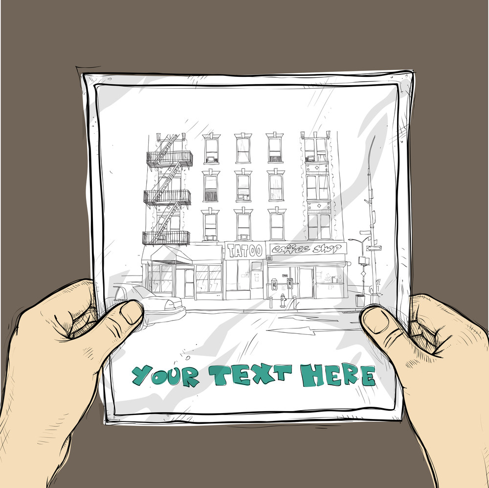 Drawing Of A Sheet Of Paper With Cityscape Illustration In Hands. Vector.