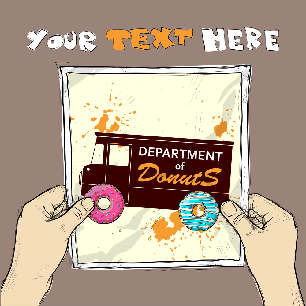 Drawing Of A Sheet Of Paper With Van And Donuts Illustration In Hands. Vector.