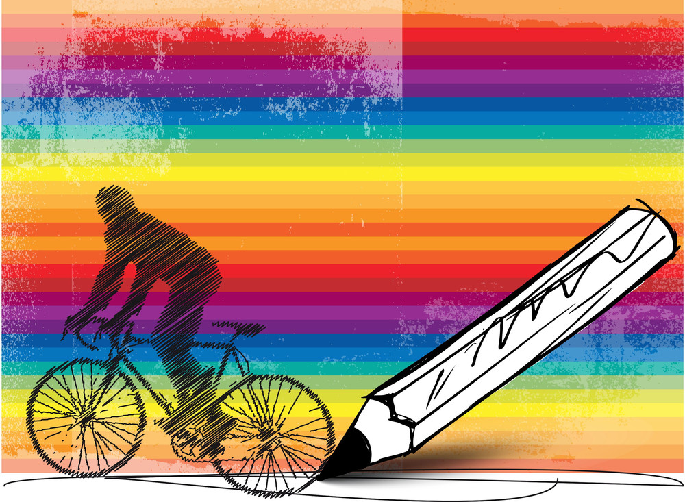 Drawing Of Biker With Colorful Background. Vector Illustration