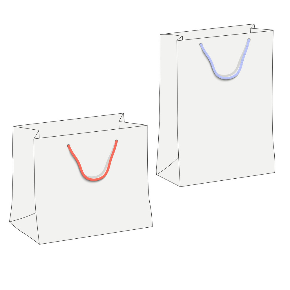 Drawing Of Two White Shopping Paper Bags