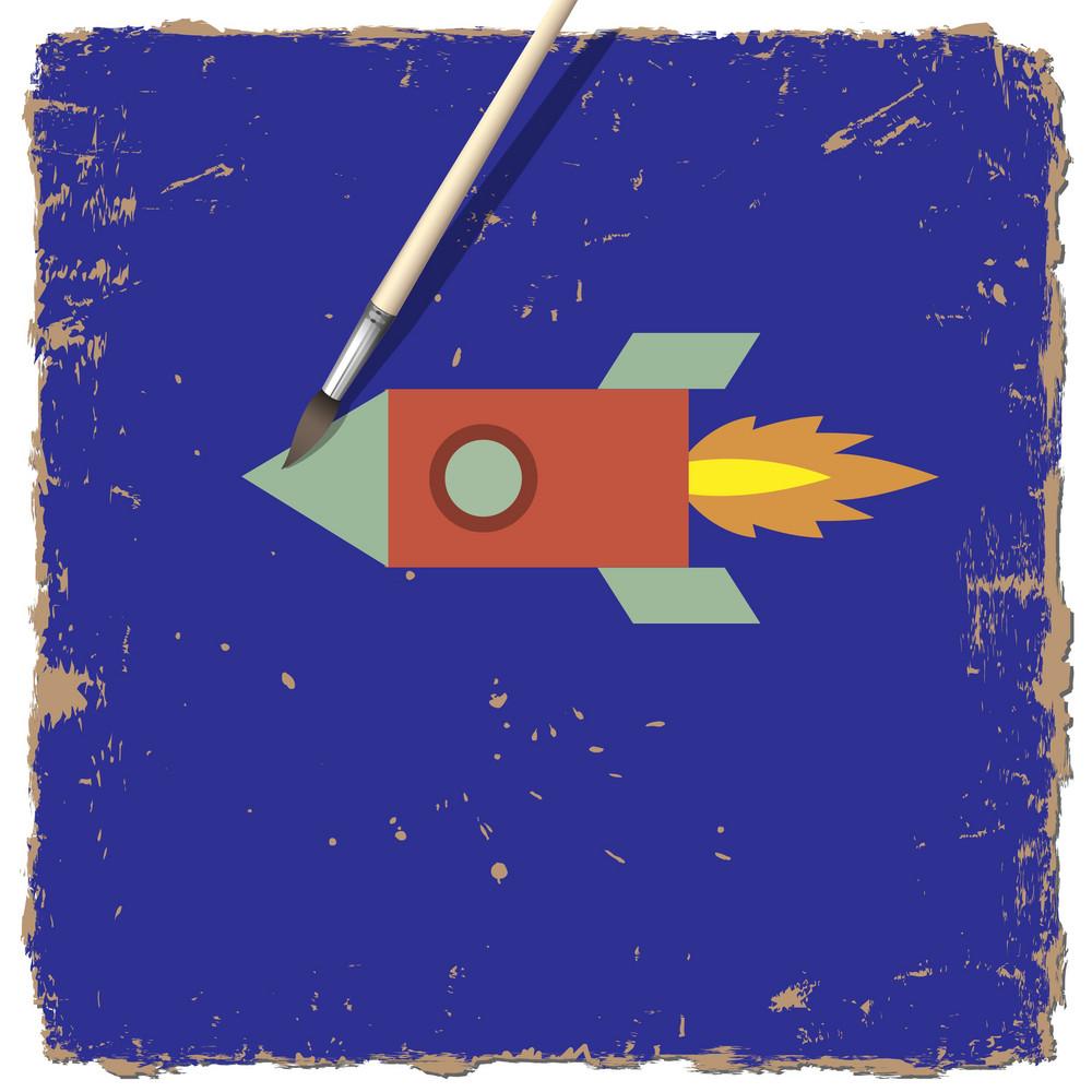 Drawing Paint Of Cartoon Rocket