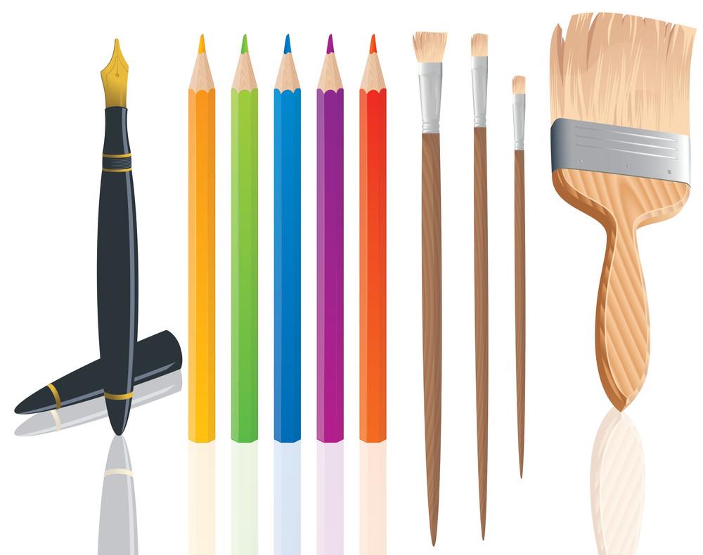 Drawing, Writing And Painting Tools. Vector.