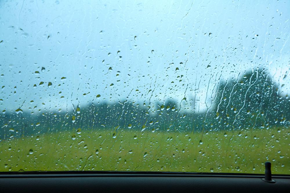 Driving a car in the rain