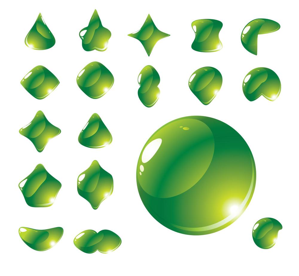 Drop Transformation. Set Of 18 Vector Clear Drops