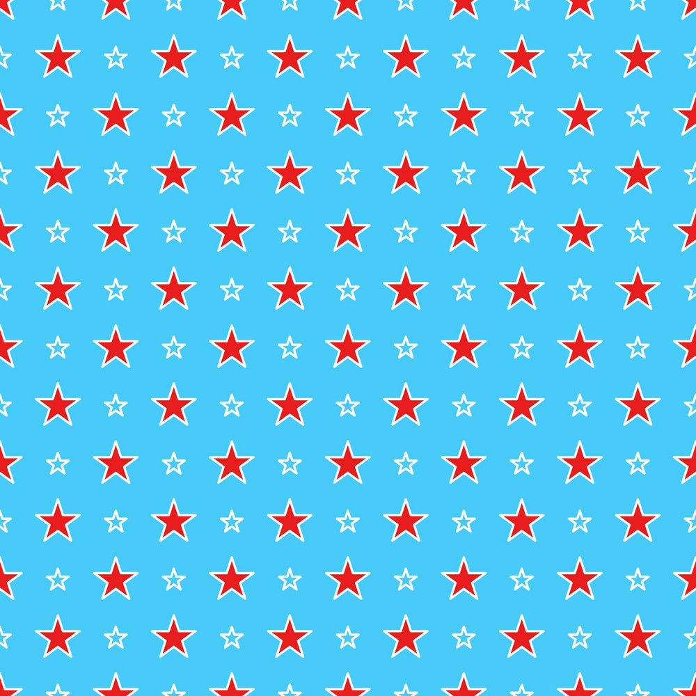 Blue Dr. Seuss Paper With A Red And White Star Pattern