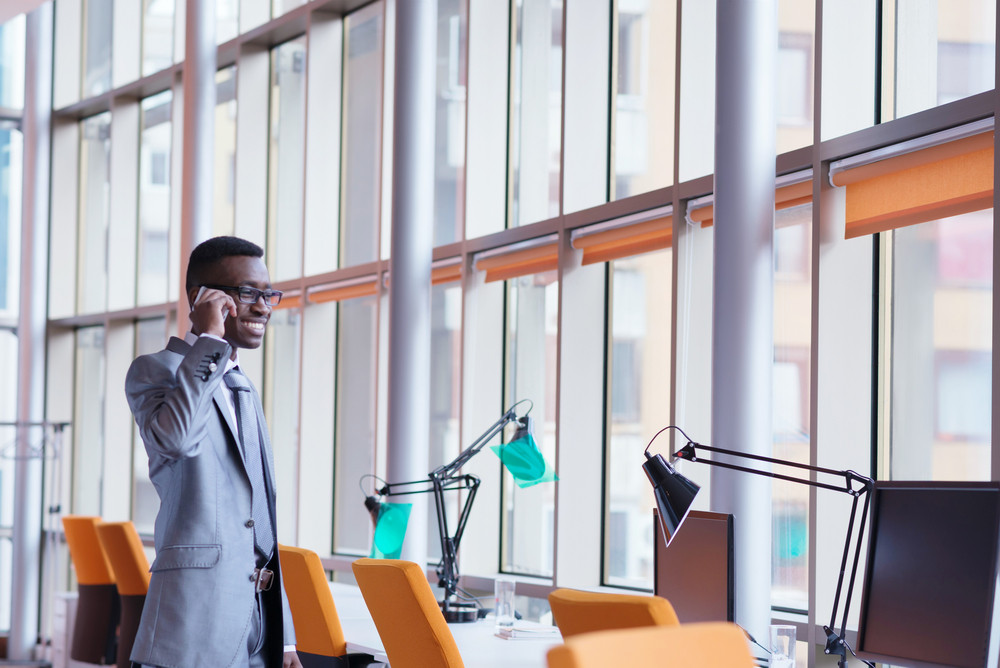African American Business Man Talk By Phone