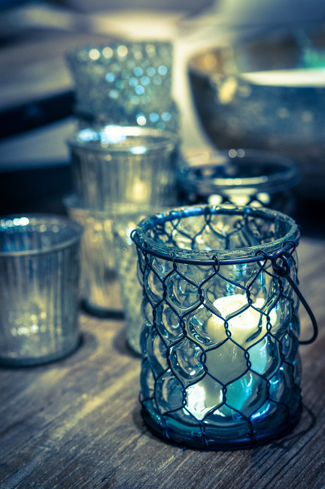 Rustic Candles On Wooden Background