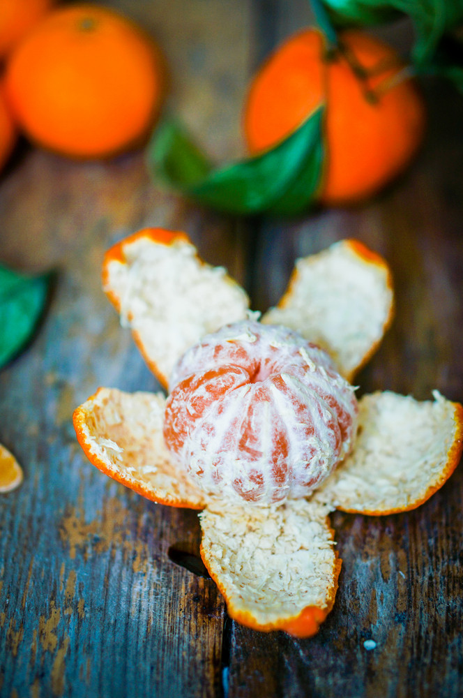 Fresh Tangerines On Wooden Background