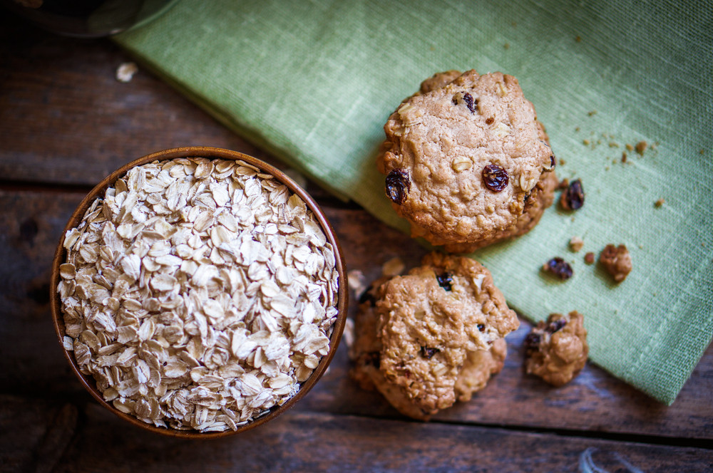 Oatmeal Cookies With Raisins On Wooden Background