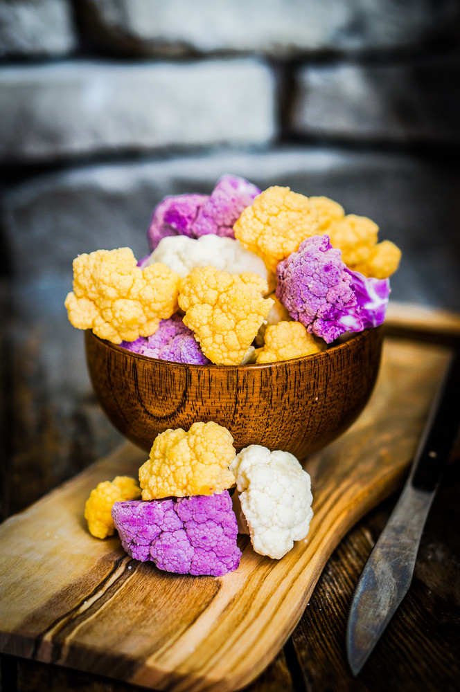 Colorful Cauliflower On Rustic Background