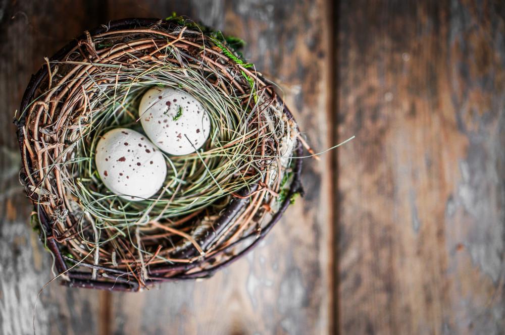復活節彩蛋巢質樸的木製背景