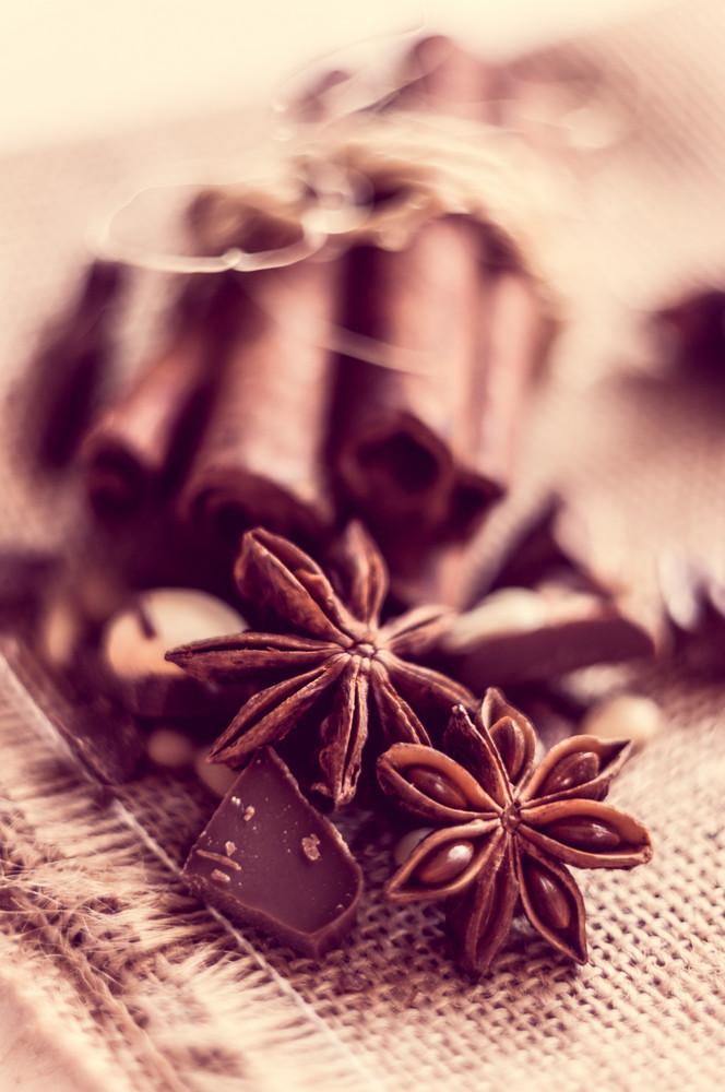 Closeup Of Star Anise And Cinnamon Sticks