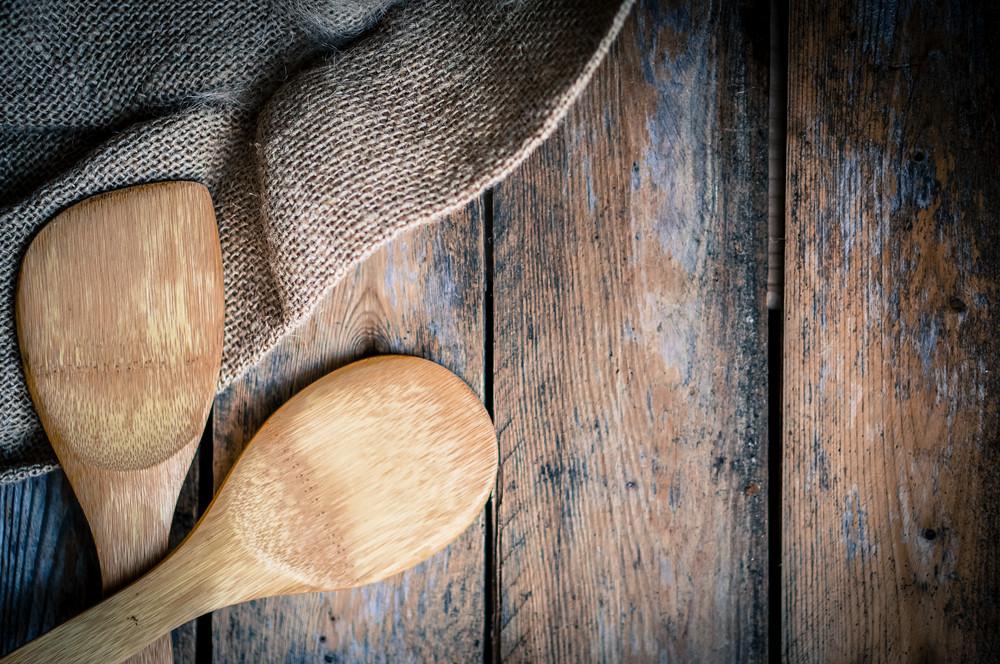 Wood Kitchen Utensils On Wooden Background