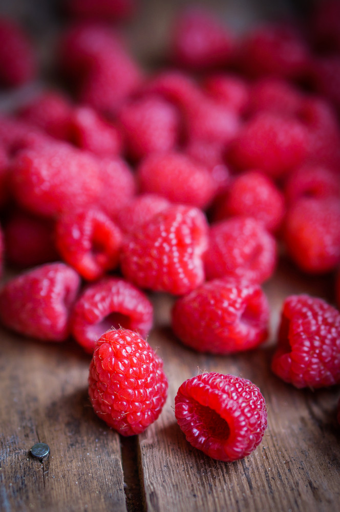 Closeup Of Fresh Picked Raspberries