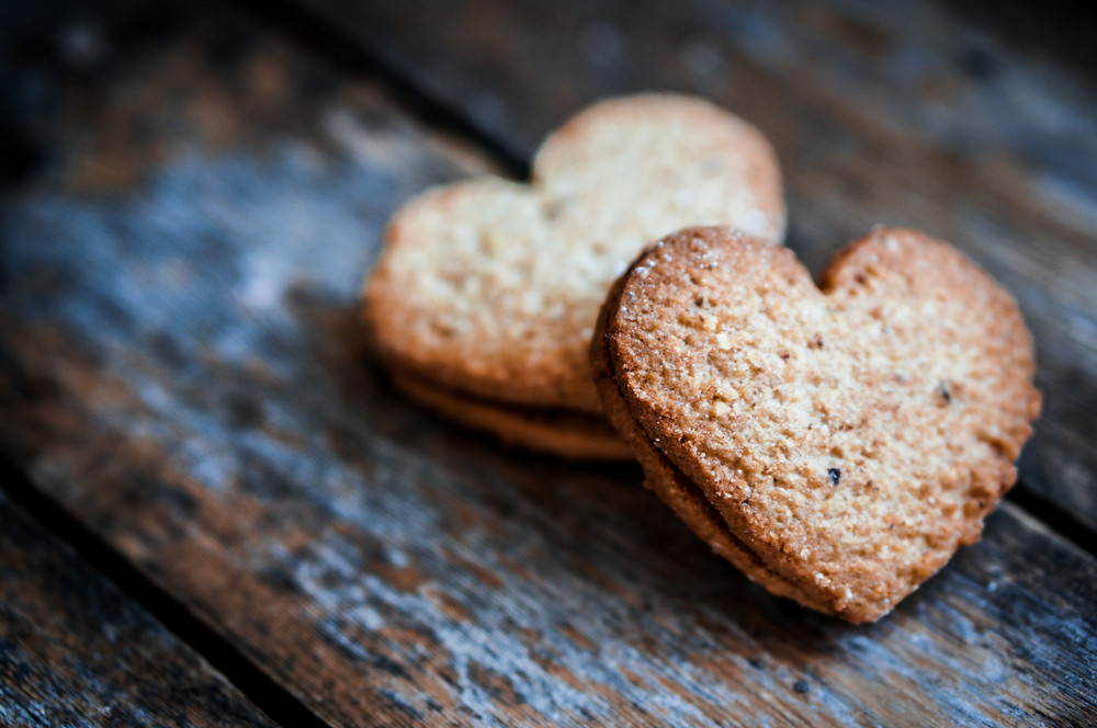 Heart Cookies On Rustic Wooden Background