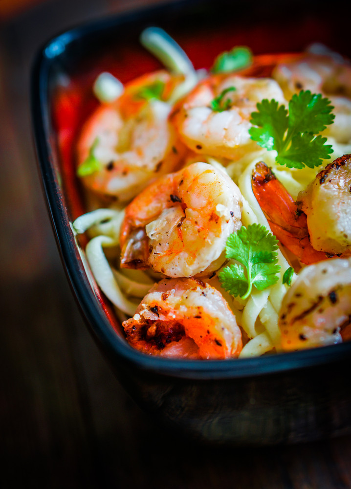 Pasta With Grilled Shrimp On Wooden Background
