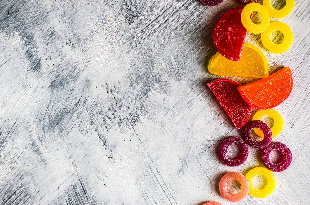 Assorted Candies On White Background