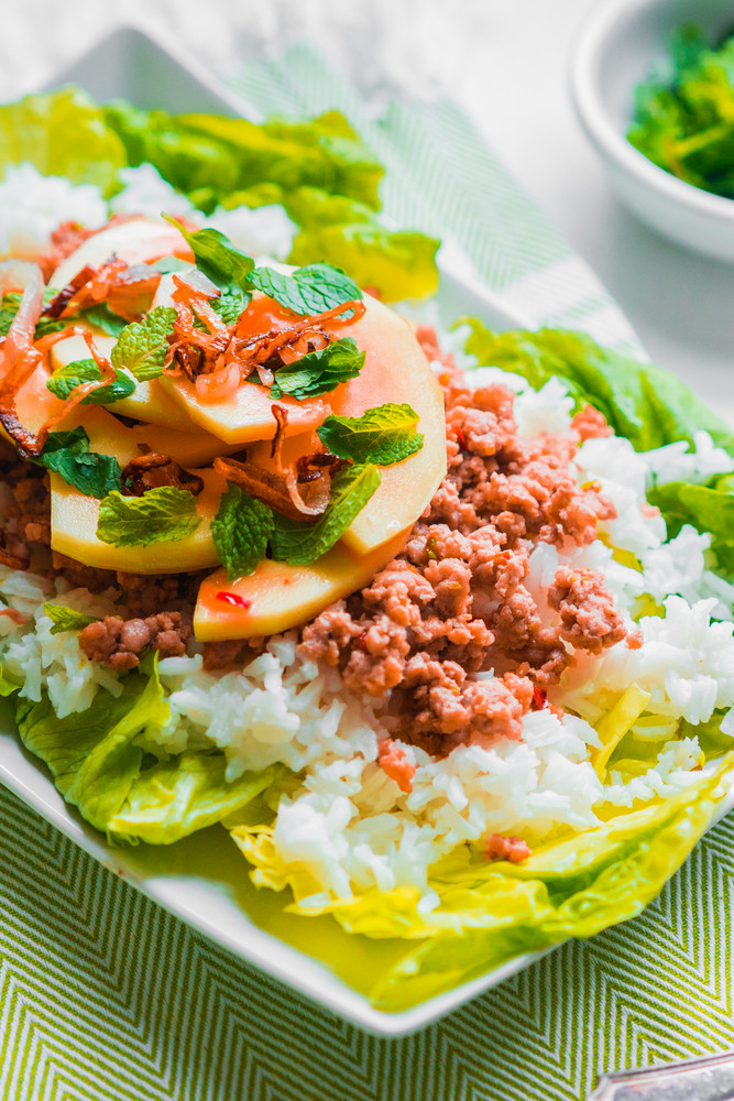 Meat With Rice And Papaya