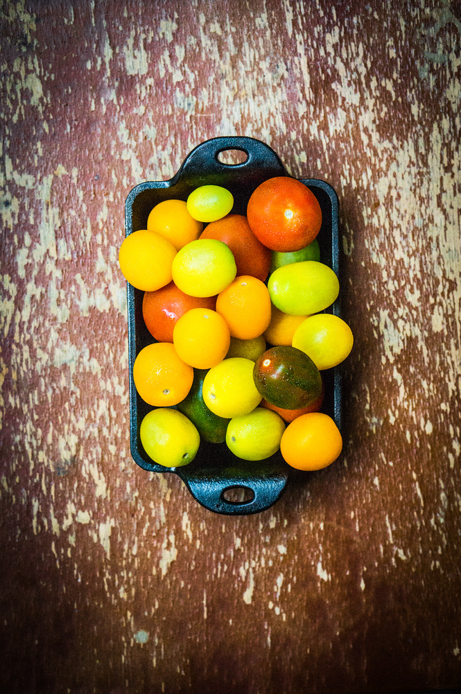 Colorful Tomatoes On Wooden Background