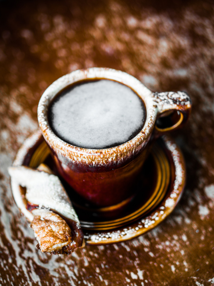 Rustic Mug Of Coffee On Wooden Background